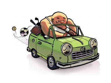illustration homme musclé en voiture